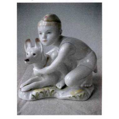 Мальчик с собакой, ЛФЗ, 1950-60-е