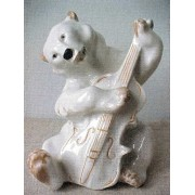 Bear (white) with double bass (15 cm), LFZ